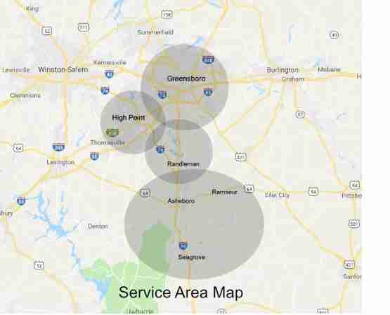 within our service area shaded areas